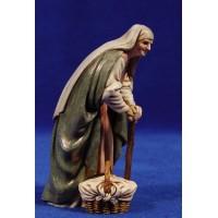 Pastora anciana con cesto y bastón 12-13  cm plástico Moranduzzo - Landi estilo ebraico