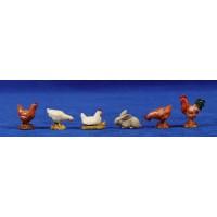 Grupo gallinas, gallo y conejo 10 cm plástico Moranduzzo - Landi