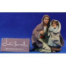 Pastora con niña adorando 15 cm resina Montserrat Ribes