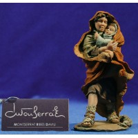 Pastor con niño 17 cm resina Montserrat Ribes