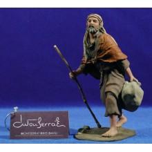 Pastor con saco y bastón 15 cm resina Montserrat Ribes