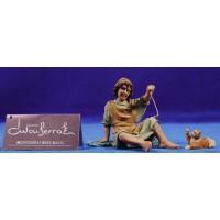 Niño con gatito 15 cm resina Montserrat Ribes