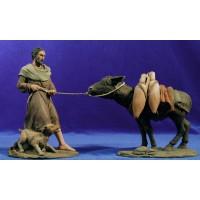 Pastor tirando un asno 17 cm resina Montserrat Ribes
