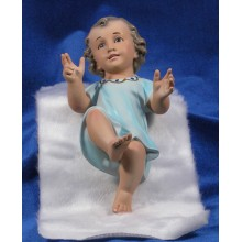 Niño Jesús (azul) con piel 25 cm yeso