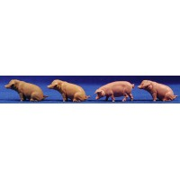 Grupo cuatro cerdos 6-8 cm Elastolin 47046 plástico