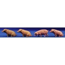 Grupo cuatro cerdos 6-8 cm Elastolin 47046 plastico