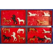 Grupo diezyseis caballos H0 Preiser 10150-10156 plastico