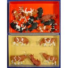 Grupo diezyseis vacas H0 Preiser 14155 plastico