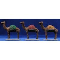 Grupo 3 camellos 6 cm barro pintado