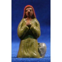Pastora adorando 5 cm barro pintado
