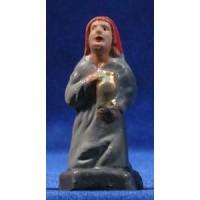 Pastora adornado con jarra 7 cm barro pintado