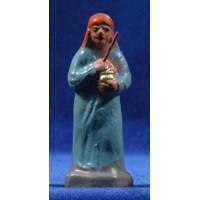 Pastora con zambomba 7 cm barro pintado