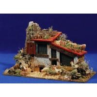 Gallinero con gallinas y gallo 8 cm corcho y plastico