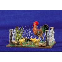 Corral gallina y pollitos 8 cm madera y plástico