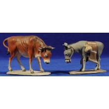 Buey y Mula de pie 8 barro pintado De Francesco