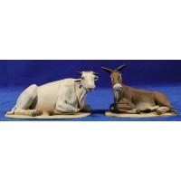 Buey y Mula estirados 10 barro pintado De Francesco
