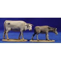 Buey y Mula de pie 10 barro pintado De Francesco
