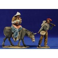 Huida a Egipto catalán 10 cm barro pintado De Francesco