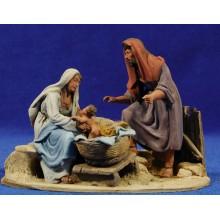 Nacimiento sin buey ni mula modelo 1 10 cm barro pintado De Francesco