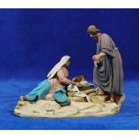 Nacimiento sin buey ni mula modelo 2 10 cm barro pintado De Francesco