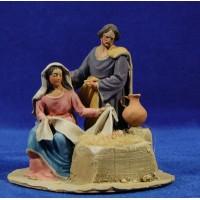 Nacimiento sin buey ni mula modelo 3 10 cm barro pintado De Francesco