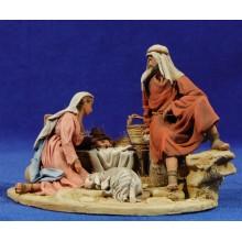 Nacimiento sin buey ni mula modelo 4 10 cm barro pintado De Francesco