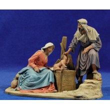 Nacimiento sin buey ni mula 15 cm barro pintado De Francesco