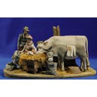 Nacimiento popular sin buey ni mula modelo 1 10 cm barro pintado De Francesco