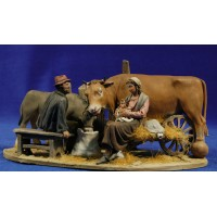 Nacimiento popular sin buey con carro 10 cm barro pintado De Francesco