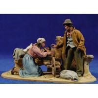 Nacimiento popular sin buey ni mula modelo 2 10 cm barro pintado De Francesco