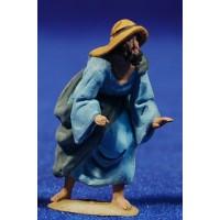 Pastor manos levantadas 4 cm barro pintado De Francesco