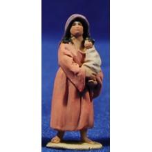 Pastora con niño 4 cm barro pintado De Francesco