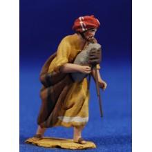Pastor músico con gaita 4 cm barro pintado De Francesco