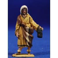 Pastor con antorcha 4 cm barro pintado De Francesco