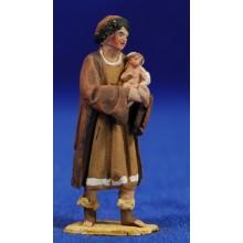Pastor con niño 4 cm barro pintado De Francesco
