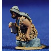 Pastor adorando con cordero 4 cm barro pintado De Francesco
