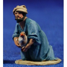 Pastor adorando con gallina 4 cm barro pintado De Francesco