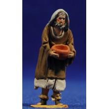 Pastor con jarra semi adorando  4 cm barro pintado De Francesco