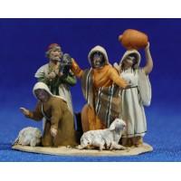 Grupo pastores 4 cm barro pintado De Francesco