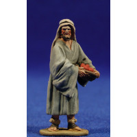Pastor con bandeja 5,5 cm barro pintado De Francesco
