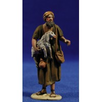 Pastor cordero en brazos 8 cm barro pintado De Francesco