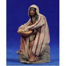 Pastora sentada 8 cm barro pintado De Francesco