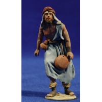 Pastor con plato 8 cm barro pintado De Francesco