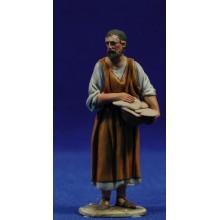 Pastor con panes 8 cm barro pintado De Francesco