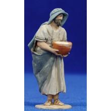 Pastor con bandeja 8 cm barro pintado De Francesco