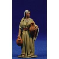 Pastora con jarras 8 cm barro pintado De Francesco