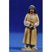 Pastora con manto 8 cm barro pintado De Francesco