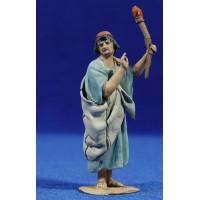 Pastor con antorcha 8 cm barro pintado De Francesco