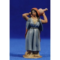 Pastora con jarra 8 cm barro pintado De Francesco
