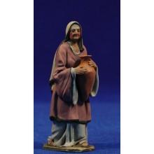 Pastora vieja con jarra 8 cm barro pintado De Francesco